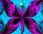 Reiki diosa energía fucsia arte arte abstracto azul pared decoración 8 x 10 lámina