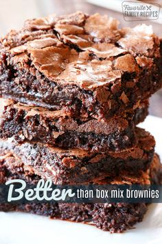 These better than box mix brownies are PERFECT. Ooey and gooey right out of the oven, soft and chewy after they cool with a light, delicate flaky crust. There are two things I am an absolute perfectio Fudgy Brownie Recipe, Chewy Brownies, Homemade Brownies, Best Brownies, Brownie Cake, Brownie Recipes, Cookie Recipes, Dessert Recipes, Brownie Recipe With Bakers Chocolate