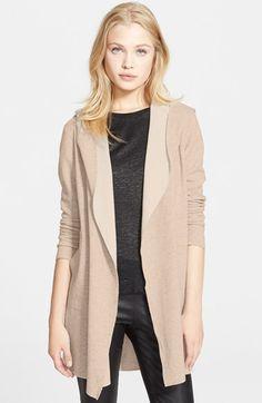 long hooded merino wool cardigan