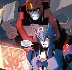 Chromia and Irohide, IDW, artwork by Sarah Stone (The artwork is wonderful! Like a mix of MTMTE and RID 2015)