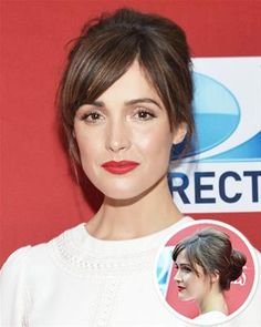 Rose Byrne - Hair pulled into a bun with bangs. Blow-dry hair straight, pull hair into ponytail. Use fine-tooth comb to tease crown, then twist the ponytail into a bun. Use bobby pins to secure loose pieces (InStyle).