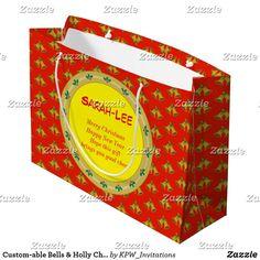 Custom-able Bells & Holly Christmas Large Gift Bag