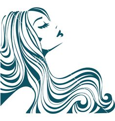 Girl with long hair vector - by Gizel on VectorStock®