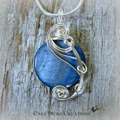 Indigo Blue Mop Shell Wire Wrapped