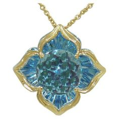 Blue Topaz Pendant (DaVinchi Cut) https://www.goldinart.com/shop/necklaces/colored-gemstones-necklaces/blue-topaz-pendant-davinchi-cut-2 #14KaratYellowAndWhiteGold, #BlueTopaz, #DaVinchi, #Necklace