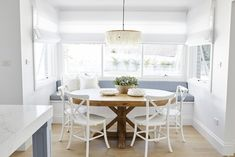 This home is traditional with a splash of colours & patterns you might not normally see. Add a dash of flavour & we have another inspirational home that is beautiful to look at. Intrim skirting & architraves are featured throughout. Banquette Seating In Kitchen, Dining Room Bench Seating, Banquet Seating, Kitchen Benches, Dining Room Design, Dining Rooms, Dining Area, Kitchen Design, Circular Dining Table