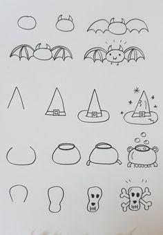 Dessins faciles d'Halloween! Les pas-à-pas pour enfant! - Allo Maman Dodo Halloween Doodle, Halloween Drawings, Cute Halloween, Halloween 2020, Halloween Stuff, Planner Doodles, Doodle Lettering, Step By Step Drawing, Horror Art