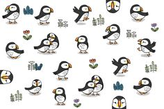 Puffin pattern illustration