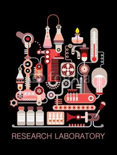 """My illustration / Graphic design with text """"Research Laboratory"""". Isolated vector composition on black background."""