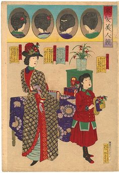 Japanese woodblock fashion prints from 1887