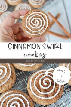 Cookies that look like cinnamon rolls. Cinnamon cookies with a sweet icing swirl. Delicious cookies for people who love cinnamon rolls. Chewy and yummy! #cinnamonroll #cookies #baking #dessert Cinnamon Roll Cookies, Cinnamon Rolls, Delicious Cookie Recipes, Yummy Cookies, Cookie Frosting, Candy Recipes, Delish, Sweet Tooth, Treats