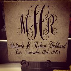 Monogram Personalized Tile Last Name Tile Decorative