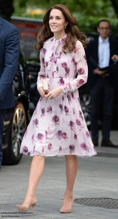Kate Spade Encore Rose Chiffon Dress, LK Bennett clutch, Gianvito Rossi pumps, Kiki McDonough earrings