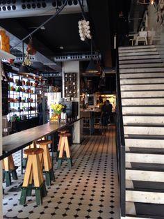 Nice bench seating seen at Vigarda, Stockholm Stockholm Archipelago, Restaurant, Beautiful Interiors, Caffeine, Bench, Furniture, Nice, Design, Decor