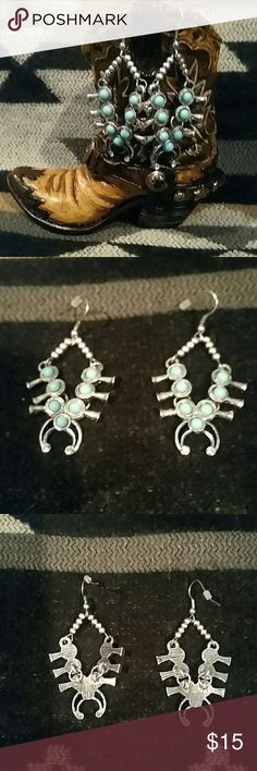 Smaller Lightweight Squash Blossom Earrings Unique simulated Turquoise & Silvertone squash blossom earrings with clear rhinestone accent on bottom. Measure about 2 long by 1 inch wide. Please ask any questions before purchasing. Jewelry Earrings