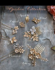 This boho-chic bridal hair pin, Primrose from the Garden Collection is a lovely accessory for your wedding day or accent your bridal party. This dainty brushed warm gold tone hair pin combines a flower accented with leaves and clear crystals. Add more drama by adding matching Laurel hair pins which can be all grouped together for a bolder look or scatter throughout. Measures 4.33 tall (11cm). Customize your look or outfit your bridal party by adding matching pieces from the Garden…