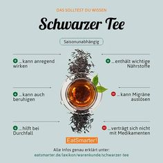 Are you coffee or tea drinker?de/lexikon/warenkunde/schwarzer-tee … - You Must Do Health Facts, Health And Nutrition, Macros Diet, Sports Food, Food Facts, Eat Smarter, Raw Food Recipes, Good To Know, How To Stay Healthy