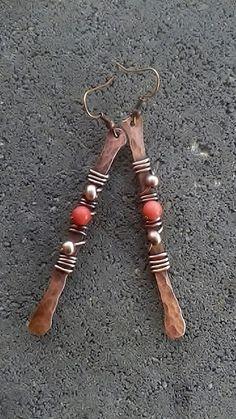 Handmade copper wire earrings Copper earringsWire by Tangledworld