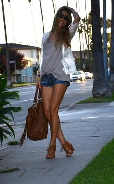 shorts, bag, lace and wedges in LA