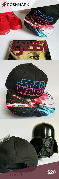 🎉HP🎉 Star Wars Snapback Hat NWT This unisex snackback cap makes the perfect gift for the ultimate Star Wars fan. Features Star Wars neon logo printed flat bill brim with adjustable snapback closure. One size fits most. 90% Cotton. 10% Polyester. No trades. 🎉HOST PICK🎉 Best In Jewelry & Accessories Party 8.14.17 Disney Accessories Hats