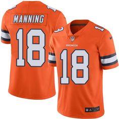 #NikeBroncos #18 #Peyton #Manning #Orange Men's #Stitched #NFL Limited #RushJersey