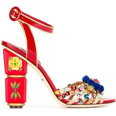 Dolce & Gabbana embellished sandals ($1,735) ❤ liked on Polyvore featuring shoes, sandals, red, ankle strap sandals, ankle strap high heel sandals, red patent leather shoes, red patent sandals and ankle wrap sandals
