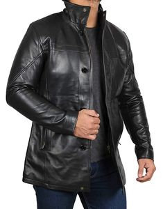 Black Real Lambskin Leather Jackets for Mens - Soomro Black Leather Jacket Outfit, Lambskin Leather Jacket, Faux Leather Jackets, Leather Men, Leather Collar, Blazers, Windbreaker Jacket, Mens Essentials, Closure