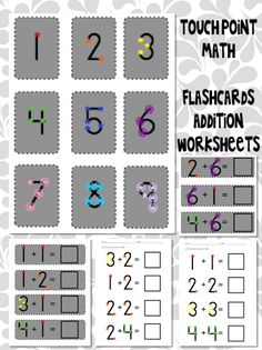 One, Two, Three: Math Time!: Touch Point Math! Flash cards and Addition