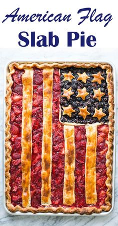 American Flag Pie! A blueberry and strawberry slab pie with stars and stripes. Perfect for Fourth of July!