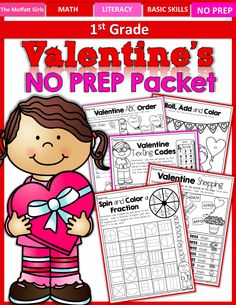 Valentine's NO PREP packet for 1st Grade!  This packet is FILLED with fun, hands-on activities that make math and literacy exciting! #TPT
