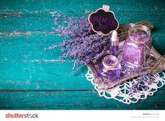 lavender flower,oil,salt, spa beauty concept. wood old background.