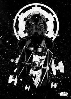 Poster metálico Darth Vader y Tie Fighter, 45 x 32 cm. Star Wars Pilots Un poster metálico con el sith mas famoso como es Darth Vader frente a las Naves usadas por los soldados del Imperio Galáctico, las Tie Figher. Por su estructura de metal este poster es resistente y además de fácil montaje.