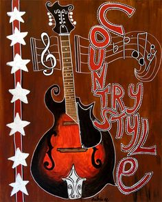 Painting By PALEFACE Country Style Acoustic Guitar On SALE Free