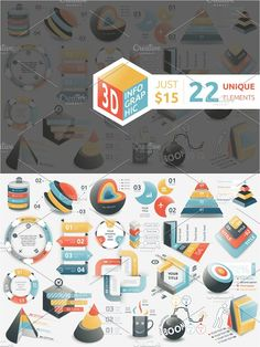 @newkoko2020 3D Infographic Bundle by Infographic Paradise on @creativemarket #infographic #infographics #bundle #design #template #presentation #vector #business #layout #creative #graph #information #visualization