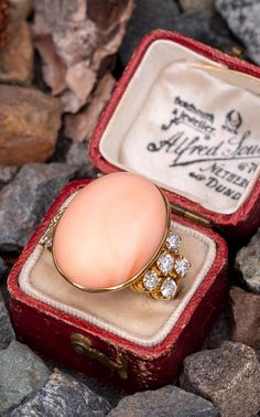 This gorgeous vintage coral cocktail ring is centered with one bezel set, oval cabochon cut natural coral. Coral Ring, Coral Jewelry, Diamond Jewelry, Edwardian Jewelry, Antique Jewelry, Vintage Jewelry, Art Deco Jewelry, Jewelry Gifts, Diamond Shapes