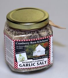 """Richard's Famous Garlic Salt, Cranberry Barn Kitchens: This """"all natural"""" seasoning, created by a father and son team, contains no preservatives and no MSG. The secret recipe has been tweaked to create the kitchen spice."""