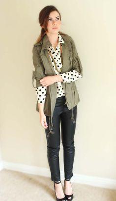 leather.polka dots.military jacket