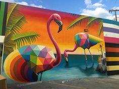 """Okuda San Miguel, """"Flamingos"""" for Vondomslu in Miami, Florida, USA, 2016"""