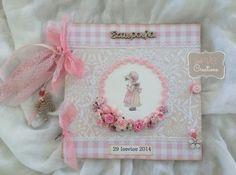 βιβλίο ευχών βάπτισης &quot Sarah Kay, Vintage Crafts, Christening, Mini Albums, Gift Wrapping, Baby Shower, Birthday, Frame, Party