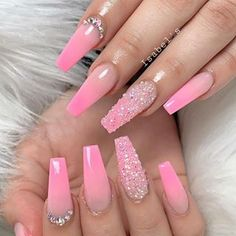 Installation of acrylic or gel nails - My Nails Pink Ombre Nails, Summer Acrylic Nails, Cute Acrylic Nails, Summer Nails, Pink Nail Designs, Acrylic Nail Designs, Nails Design, Fire Nails, Birthday Nails