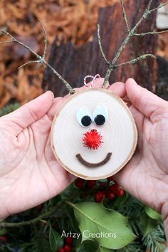 Rudolph Birch Ornament | Birch Ornament | Christmas Ornament Tutorial via @artzycreations