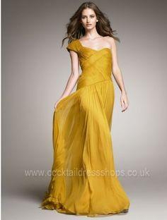 one shoulder yellow long formal dress