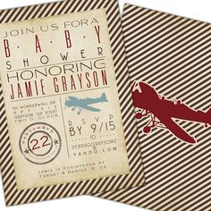 Printable - DIGITAL FILE ONLY - Red, Brown, Tan - Vintage Airplane themed baby shower invitation. $25.00, via Etsy.
