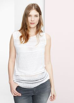 Leinen-t-shirt mit häkelborten -  Große größen | MANGO Outlet Deutschland