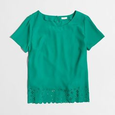 J.Crew Factory laser-cut tee ($45) ❤ liked on Polyvore featuring tops, t-shirts, j crew t shirts, green top, j crew tee, green tee and green t shirt