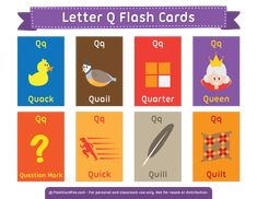 Free printable letter Q flash cards. Download them in PDF format at http://flashcardfox.com/download/letter-q-flash-cards/