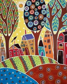 Karla Gerard Folk/Abstract artist wonderful colorful work