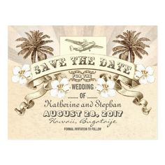 Beach Wedding Save the Date Cards tropical destination wedding save the date postcard
