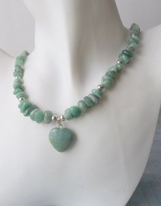 Green Aventurine Heart Necklace with Silver by ShadowoftheCross