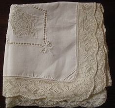 Vintage Ecru Linen and Lace Tablecloth by Artifaqt on Etsy